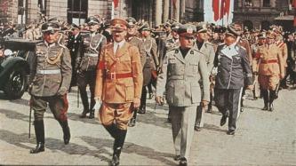 Na Alemanha, Mussolini e Hitler em Monique, 1938.