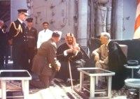 Rei Saud da Árabia Saudita tem conferência com Roosevelt.