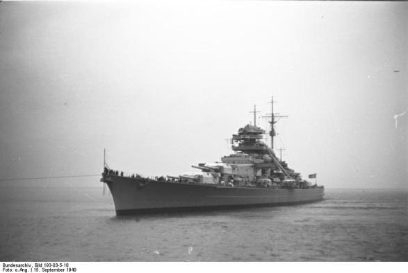 Battleship Bismarck em Brunsbütteler, Schleswig-Holstein, Alemanha, 15 de setembro de 1940
