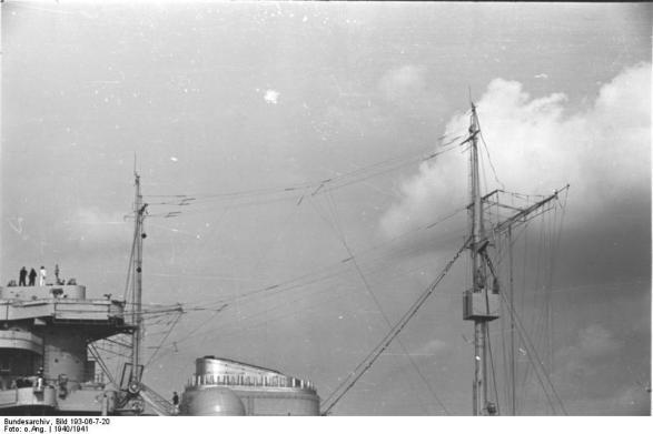 Antenas e Mastro Battleship Bismarck, 1940-1941