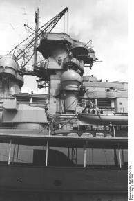 Vista da superestrutura encouraçado Bismarck, 1940-1941