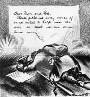 Queridos Mamãe e Papai, por favor juntem cada grama de metal para ajudar a ganhar a guerra só assim podemos voltar para casa breve...