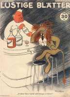 """A legenda: """"Parece não concordar com o coquetel"""" Winston Churchill acaba servindo uma mistura de sangue e lágrimas a um leão magro e infeliz. Edição 18/1942"""