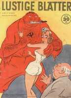 """A legenda: """"Você tem que confiar nele, Britannia. Ele só quer protegê-lo!"""". Winston Churchill tenta tranquilizar a Inglaterra que uma aliança com a Rússia Soviética é uma boa ideia. Edição 18/1942"""