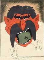 """A legenda: """"Os resultados de sua ofensiva de inverno. Ele tem mordido aço!"""". O cartoon minimiza os resultados da ofensiva soviética durante o inverno de 1941-42. Na verdade, os nazistas tinham sido desagradavelmente surpreendidos com a força dessa ofensiva. Como alguns generais revelaram após a guerra, a frente alemã quase entrou em colapso. Edição 22/1942"""