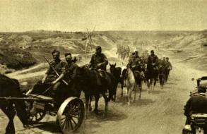Avanço em todos os segmentos da imensa frente - unidades de um regimento de infantaria