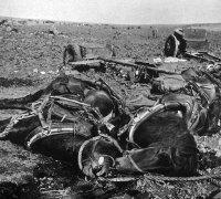 Colunas vermelhas foram brutalmente esmagadas pela artilharia e bombardeiros de mergulho Stuka. Cadáveres, solo arruinado, animais de tração e todos os tipos de equipamentos de guerra estão espalhados no campo de batalha.