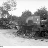 Villers-Bocage, zerstörte britische Militärfahrzeuge