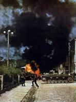 Deutsche Panzer haben eine sowjetischeFahrzeugkolonne
