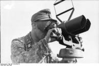 Frankreich, Waffen-SS-Mann an Fernglas