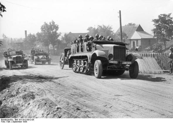 Polen, Motorisierte deutsche Truppen