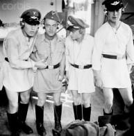 German soldiers goof around in the barracks, ca. 1937