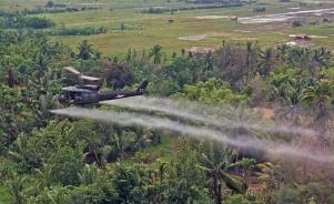 Um helicóptero da 336º Companhia de Aviação joga sprays um agente de desfolhamento em uma área de densa mata. (US Department of Defense/Brian K. Grigsby, SPC5).